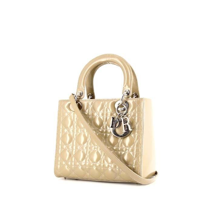 Christian Dior Sac à main Dior Lady Dior moyen modèle en cuir verni beige