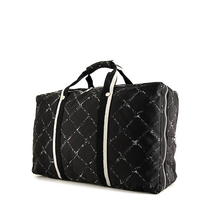 Chanel Sac de voyage Chanel en toile noire et blanche