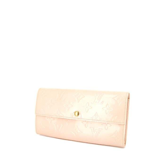 Louis Vuitton Portefeuille Louis Vuitton Sarah en cuir verni monogram beige-rosé