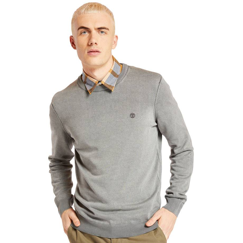Timberland Pull Coton Bio Manhan River Homme En Gris Gris, Taille XL