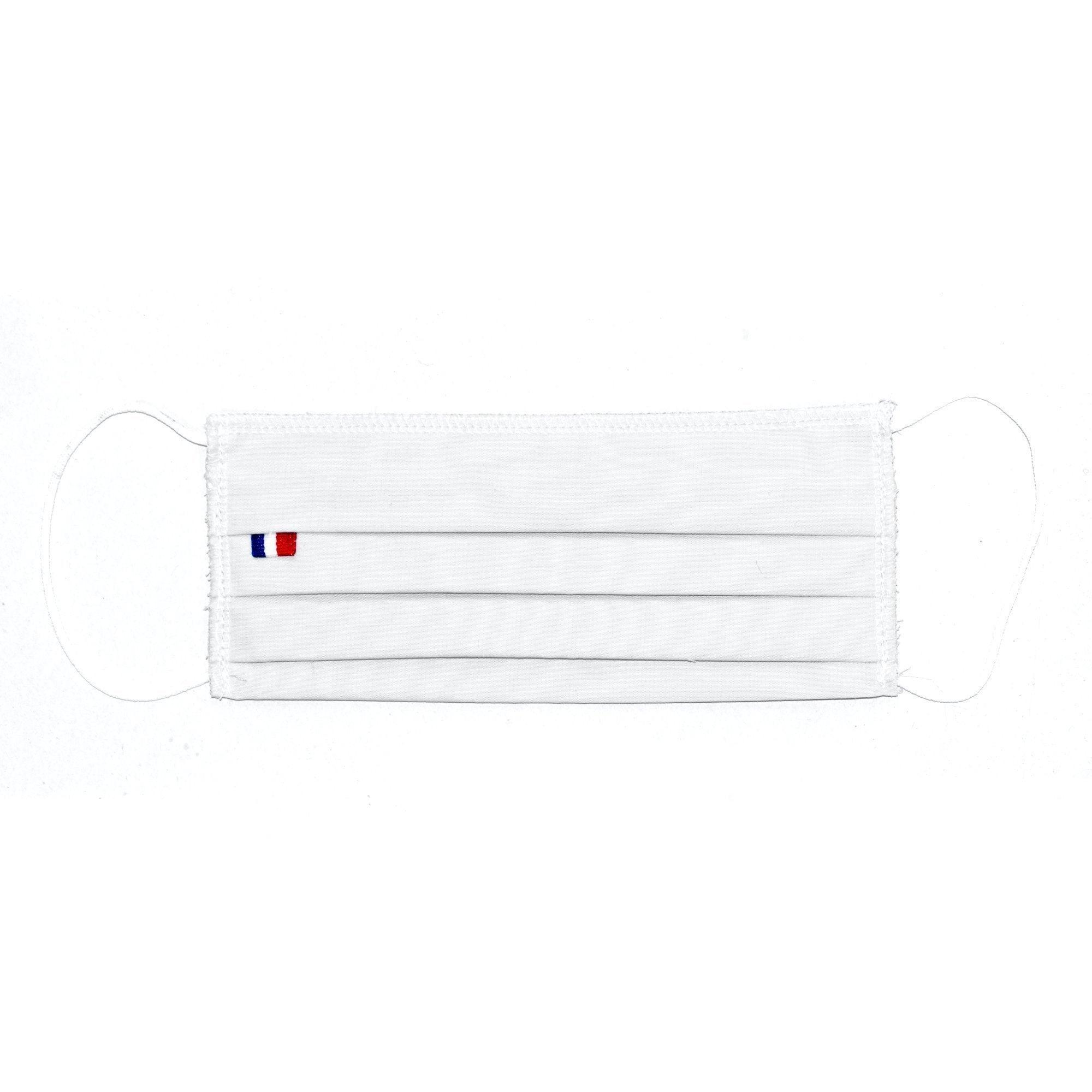 MASQUES DIRECT 5 Masques barrières 3 plis en tissu lavable réutilisable blanc - testé 10 lavages
