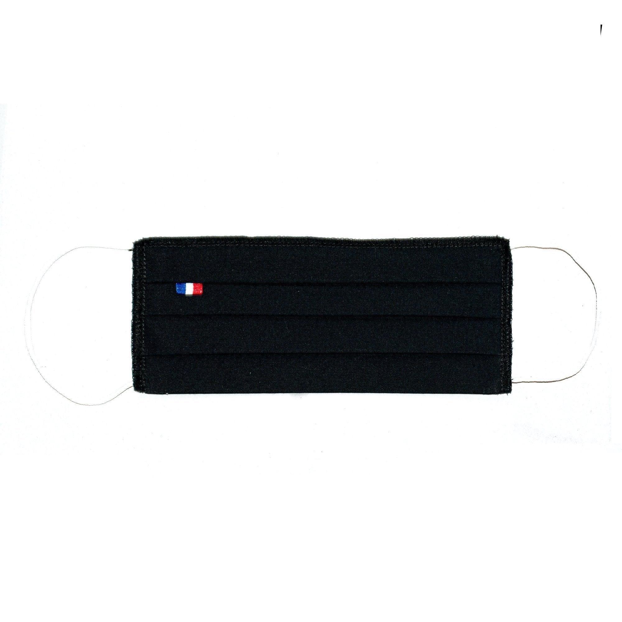 MASQUES DIRECT 5 Masques barrières 3 plis en tissu lavable réutilisable noir - testé 10 lavages