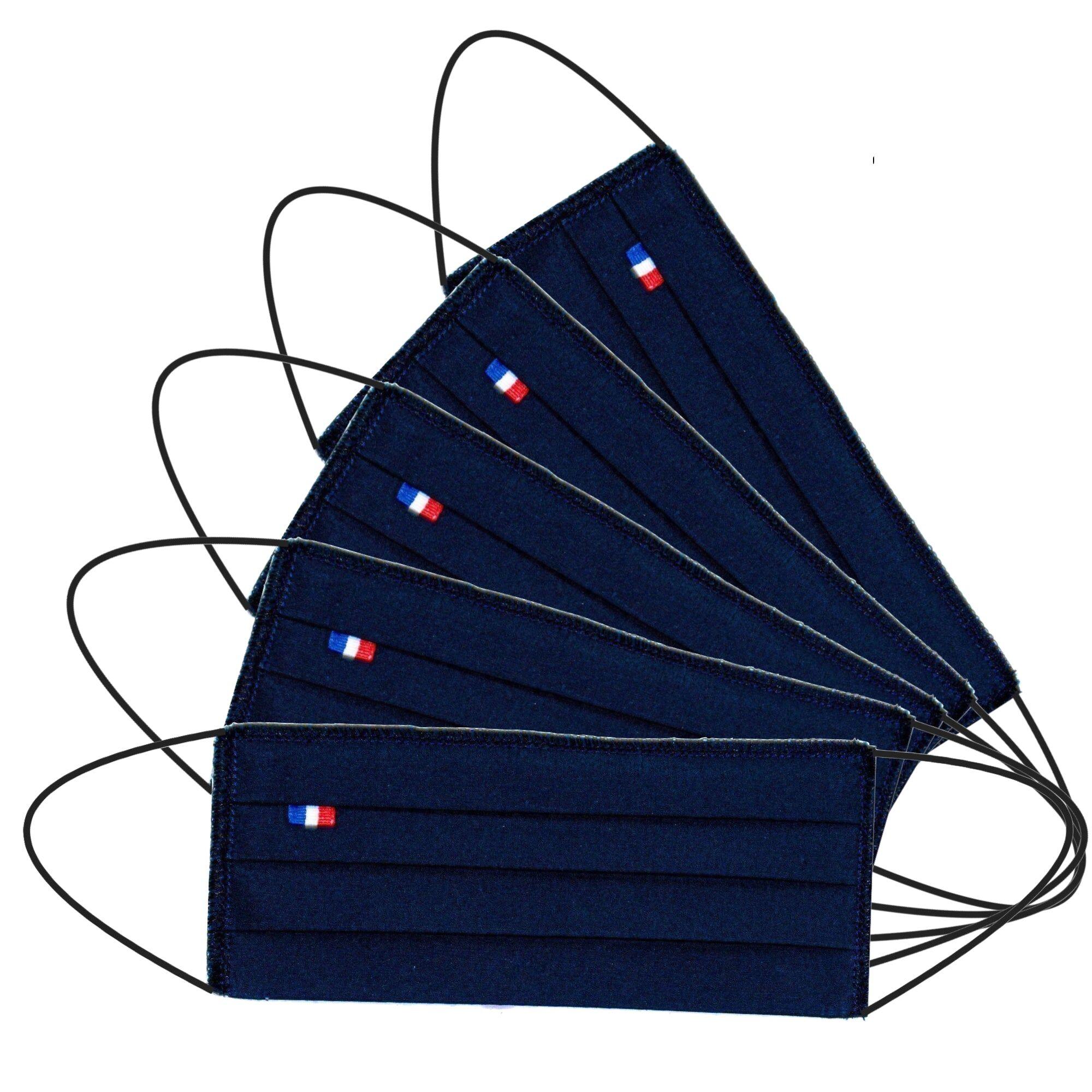 MASQUES DIRECT 5 Masques barrières 3 plis tissu lavable réutilisable bleu marine - testé 50 lavages