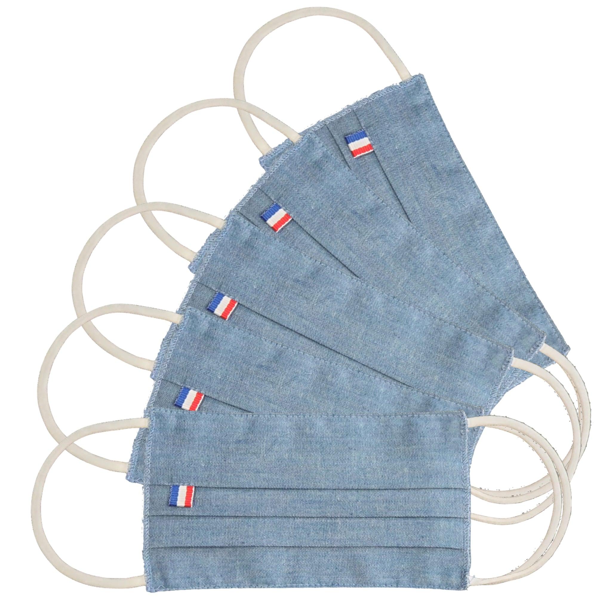 MASQUES DIRECT 5 Masques pour enfants 3 plis en tissu lavable réutilisable bleu jean - Testé 10 lavages