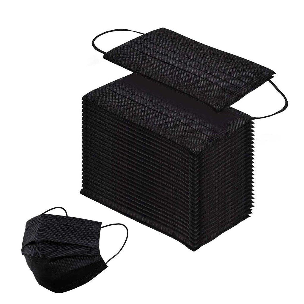 MASQUES DIRECT Boîte de 50 masques jetables en papier noirs