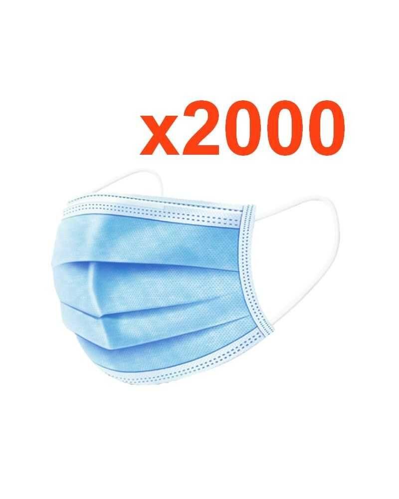 Silumen Masques Chirurgicaux 3 plis Jetables - Protection Respiratoire - Pack de 2000