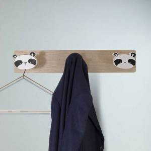 Silumen Porte-manteau Mural En Bois, Patère Panda, 48x6x8cm Motif 1 - Publicité