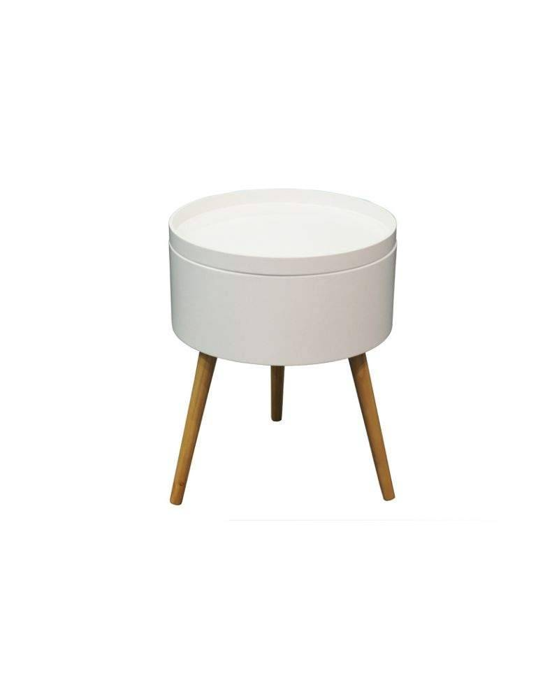 Table d'appoint avec couvercle amovible blanc Ø38cm avec pieds en bois de pin