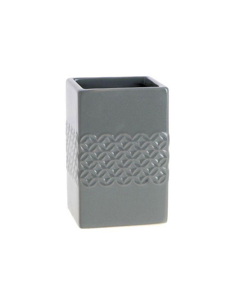 Porte-brosse À Dent En Céramique - Relief Rosace Gris