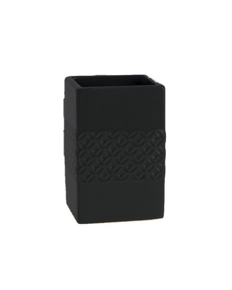 Porte-brosse À Dent En Céramique - Relief Rosace Noir