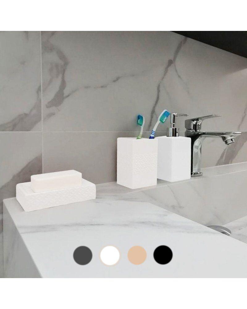 Silumen Porte-brosse À Dent En Céramique - Relief Rosace Blanc