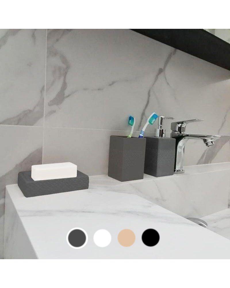 Silumen Porte-brosse À Dent En Céramique - Relief Rosace Gris