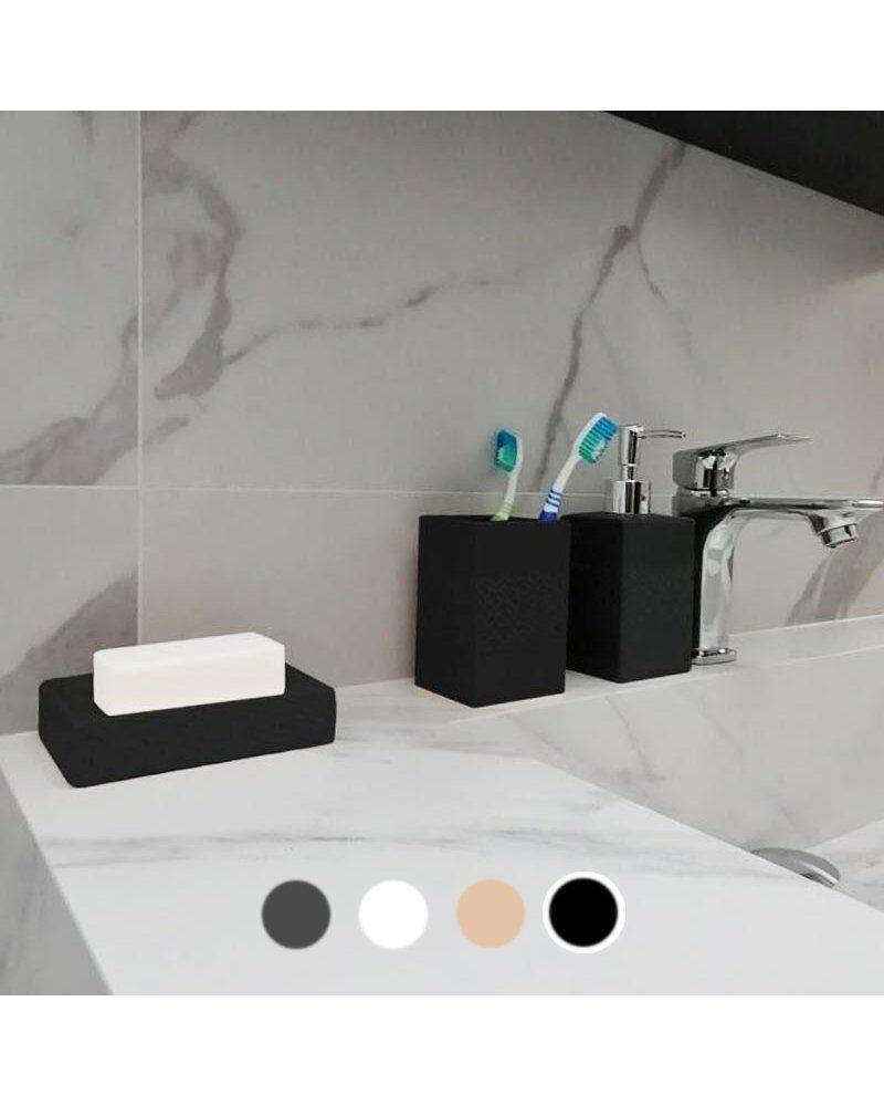 Silumen Porte-brosse À Dent En Céramique - Relief Rosace Noir