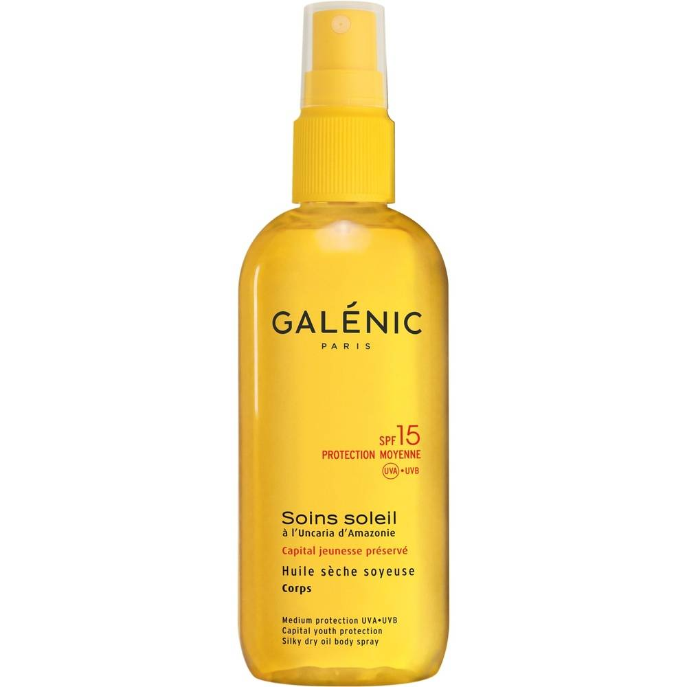 Galénic Solaire Soins Soleil Huile Sèche Soyeuse Corps SPF 15 150ml