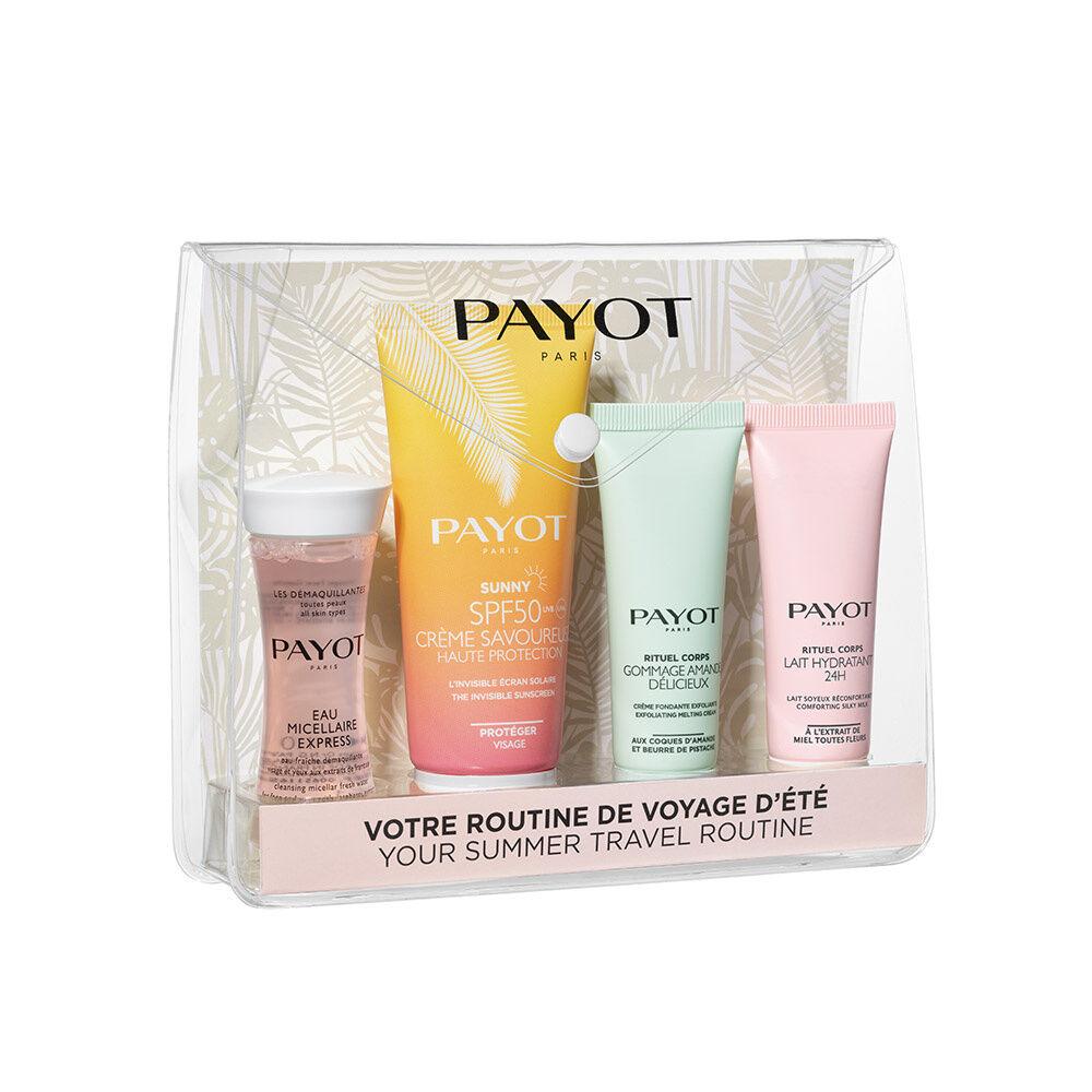 Payot Travel kit Eau Micellaire Express (30ml) Crème Savoureuse SPF50 (50ml)  Gommage Amande Déclicieux (25ml)  Lait Hydratant 24H (25ml)