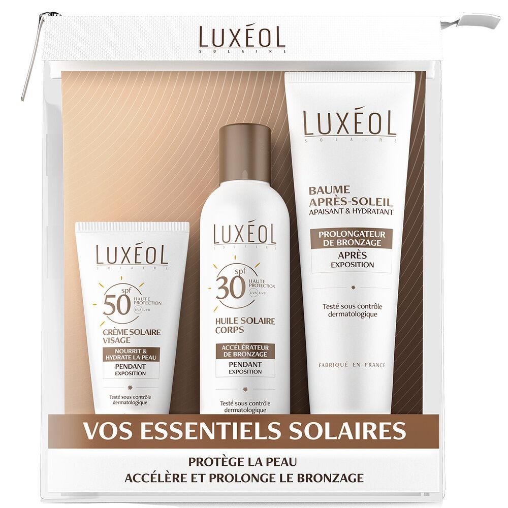 Luxéol Cosmétique Trousse comprenant 3 cosmétiques : 1 tube de 50 ml, 1 flacon de 150 ml et 1 tubede 150 ml