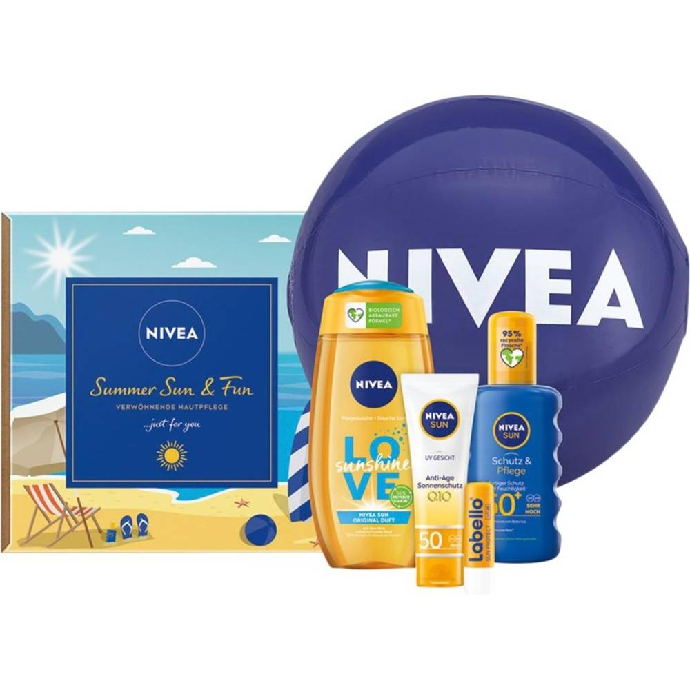 Nivea  Spray solaire Protection&Soin SPF50+ 200 ml + Soin solaire visage anti-âge Q10SPF50 50 ml + Gel douche Love Sunshine250 ml + Labello Sun Protect SPF30 5,5 g