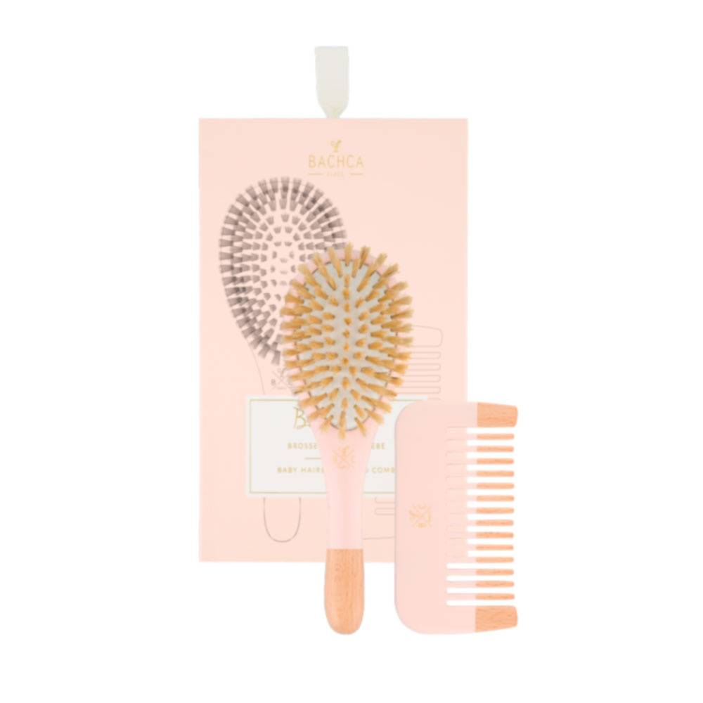 Bachca Accessoires cheveux Coffret bébé - Brosse 100% sanglier petit modèle + peigne bois