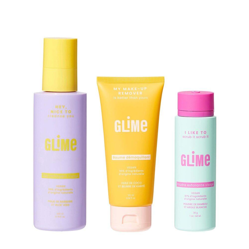 Glime Visage Soins visage, Baume démaquillant&Poudre exfoliante&Gel nettoyant