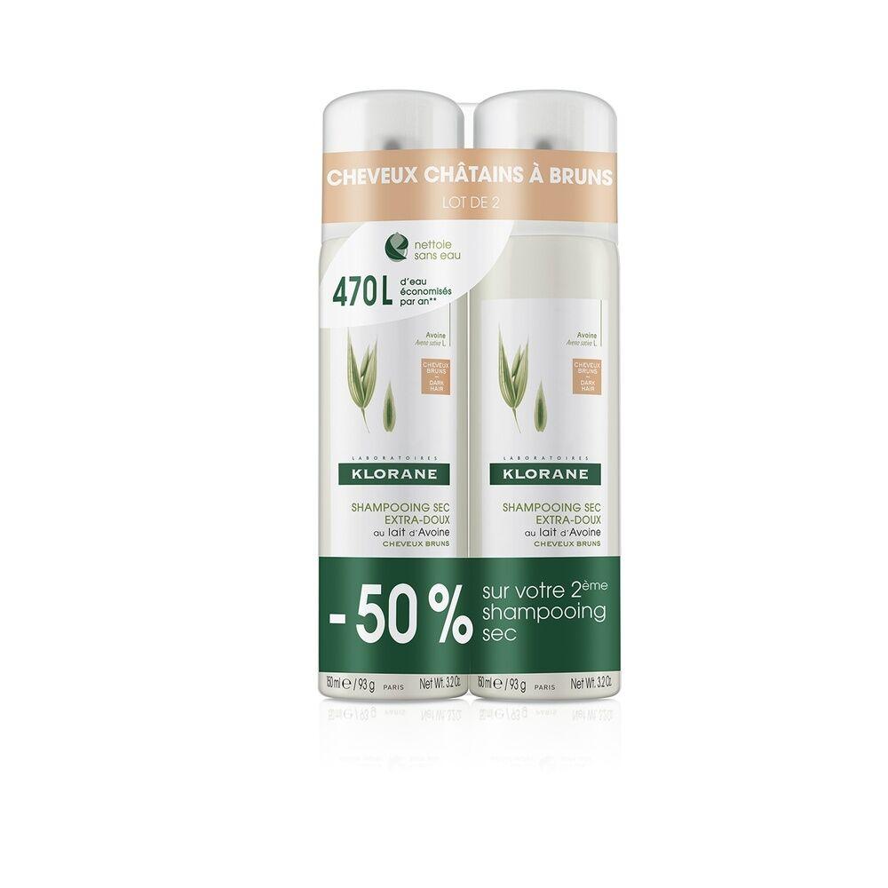 Klorane Lait d'avoine Shampooings Sec Cheveux Châtains à Bruns   duo spray  2 x 150 ml Shampooing sec