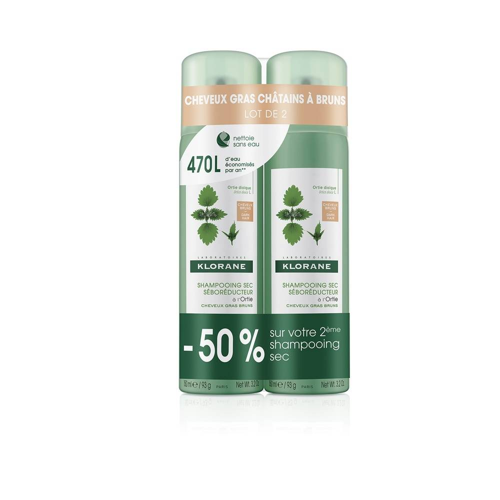 Klorane Ortie Shampooing  sec cheveux chatains à bruns Duo spray 2 x 150 ml Shampooing sec