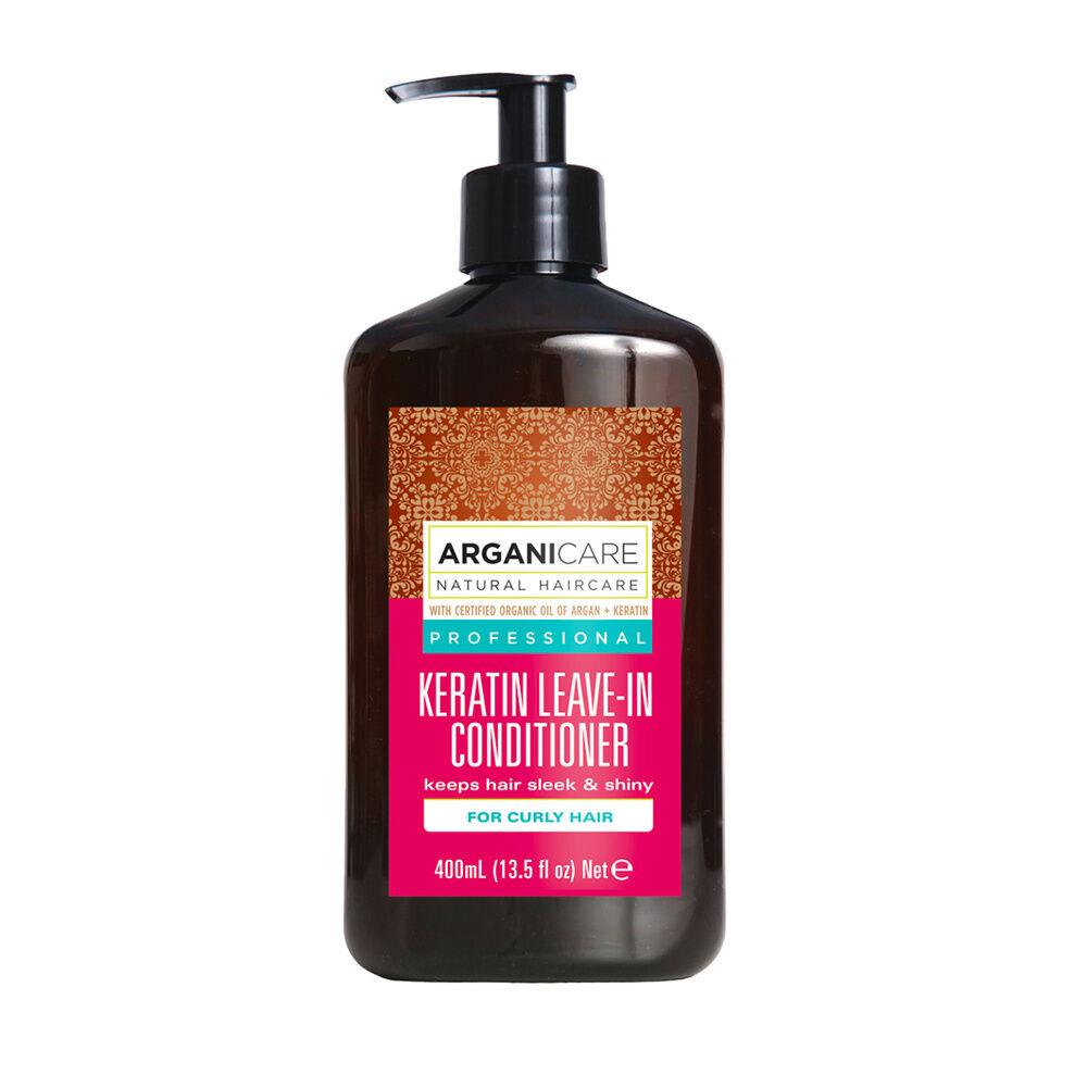 Arganicare Soin sans rinçage à la  kératine Hydratant et protecteur pour cheveux bouclés à frisés.