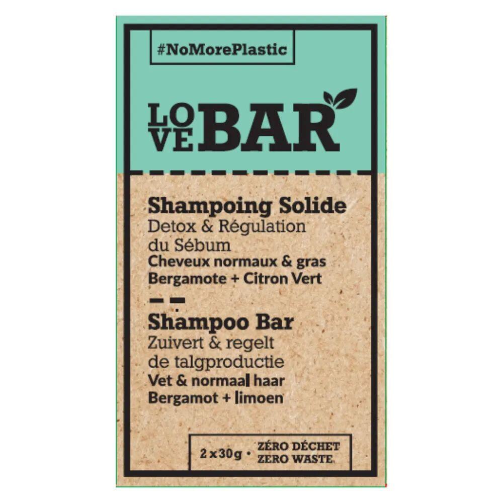 Love bar Shampoing solide détoxifiant & régulateur à la bergamote et au citron vert Shampoing Solide