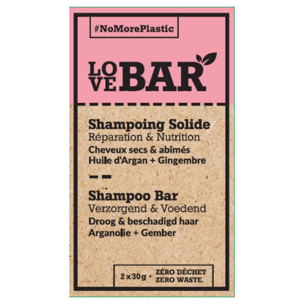 Love bar Shampoing solide réparateur & nourrissant à largan et au gingembre Shampoing Solide