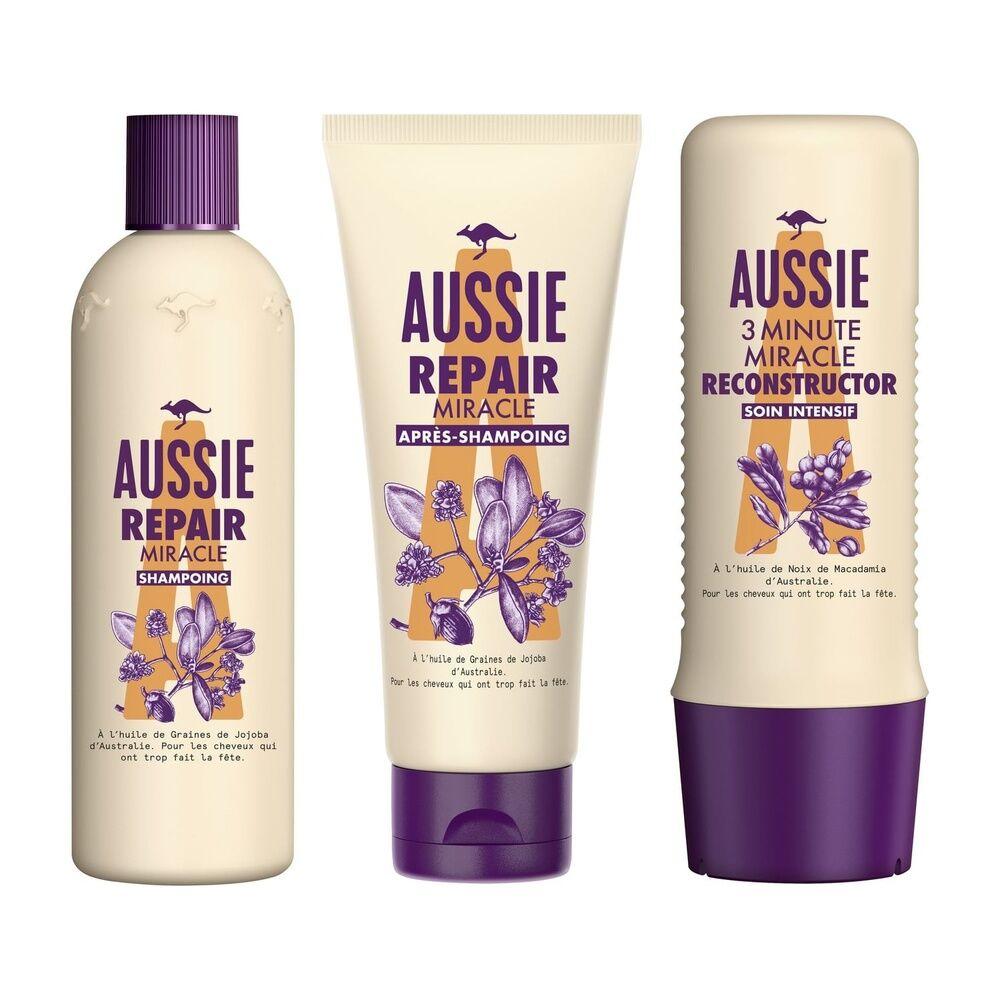 aussie Soin Lot de Aussie - Repair Miracle Shampooing 300ml, Repair Miracle Après-shampooing200ml, 3MM Reconstructor Soin Intensif250ml - Routine Réparation Des Cheveux