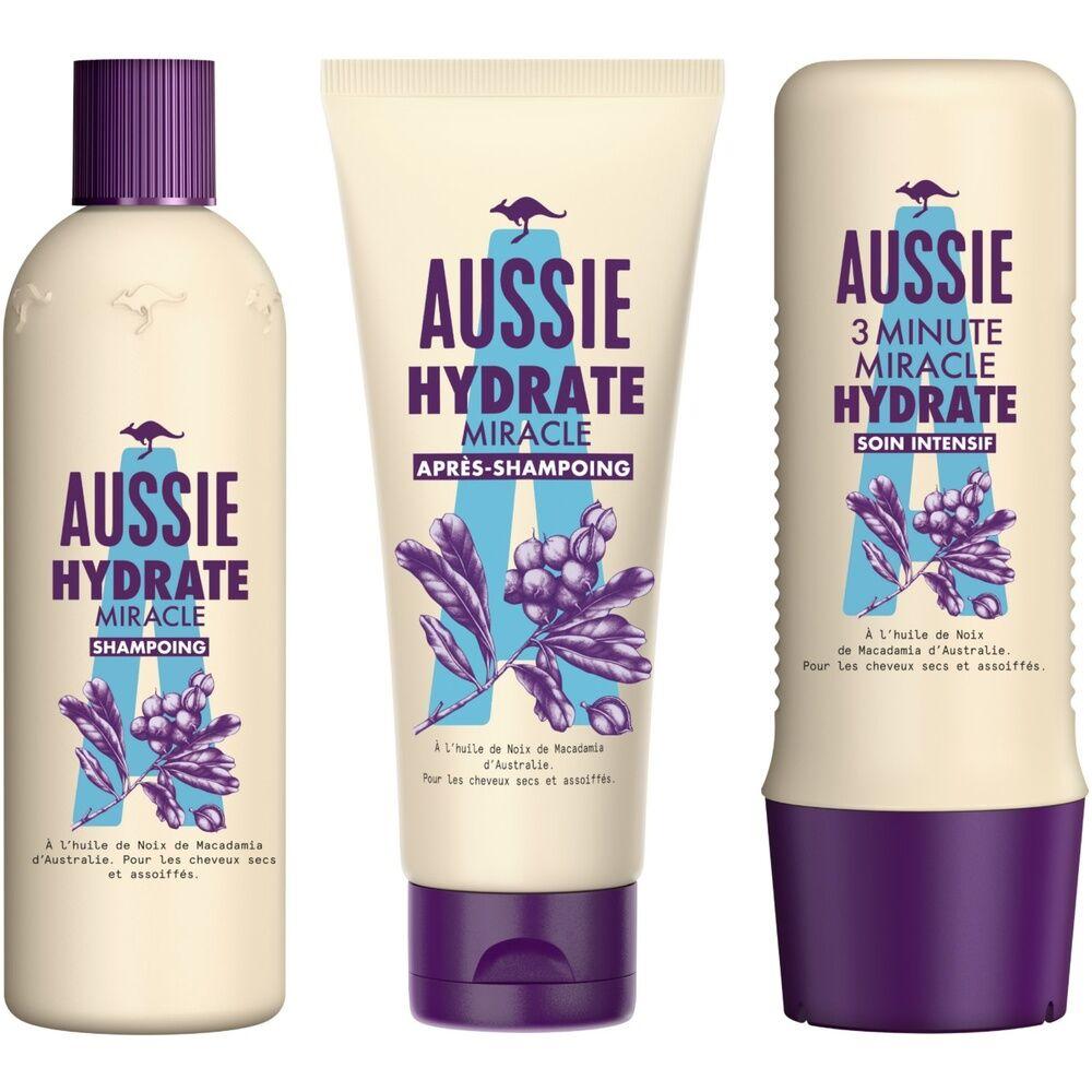 aussie Soin Aussie Hydrate Miracle Shampoing, Après-shampoing Et Soin Intensif Hydratants, Pour Cheveux Secs, Á L'Huile De Macadamia