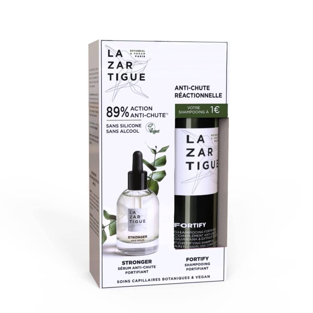 lazartigue Fortify Sérum STRONGER fortifiant 50 ml + Shampooing FORTIFY complément anti-chute 250 ml offert