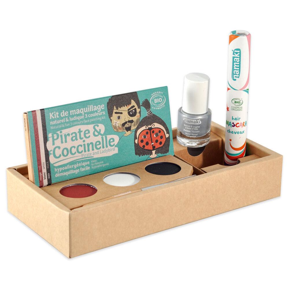namaki Maquillage de déguisement Kit 3 Pirate&Coccinelle* - Vernis Argent (06) - Mascara cheveux rouge (19)