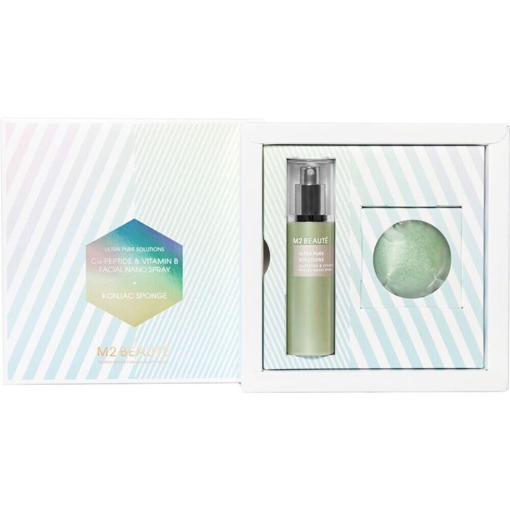 M2 Beauté  Cu-Peptide&Vitamin B Facial Nano Spray75 ml + Konjac Sponge 1 Stk.