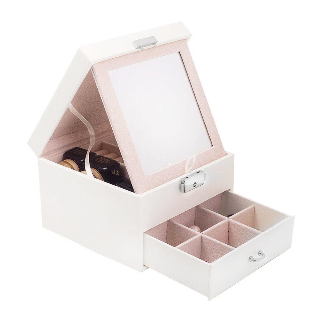 Stella Maris  Boîte de rangement blanche pratique pourbijoux et cosmétiques avec miroir intégré