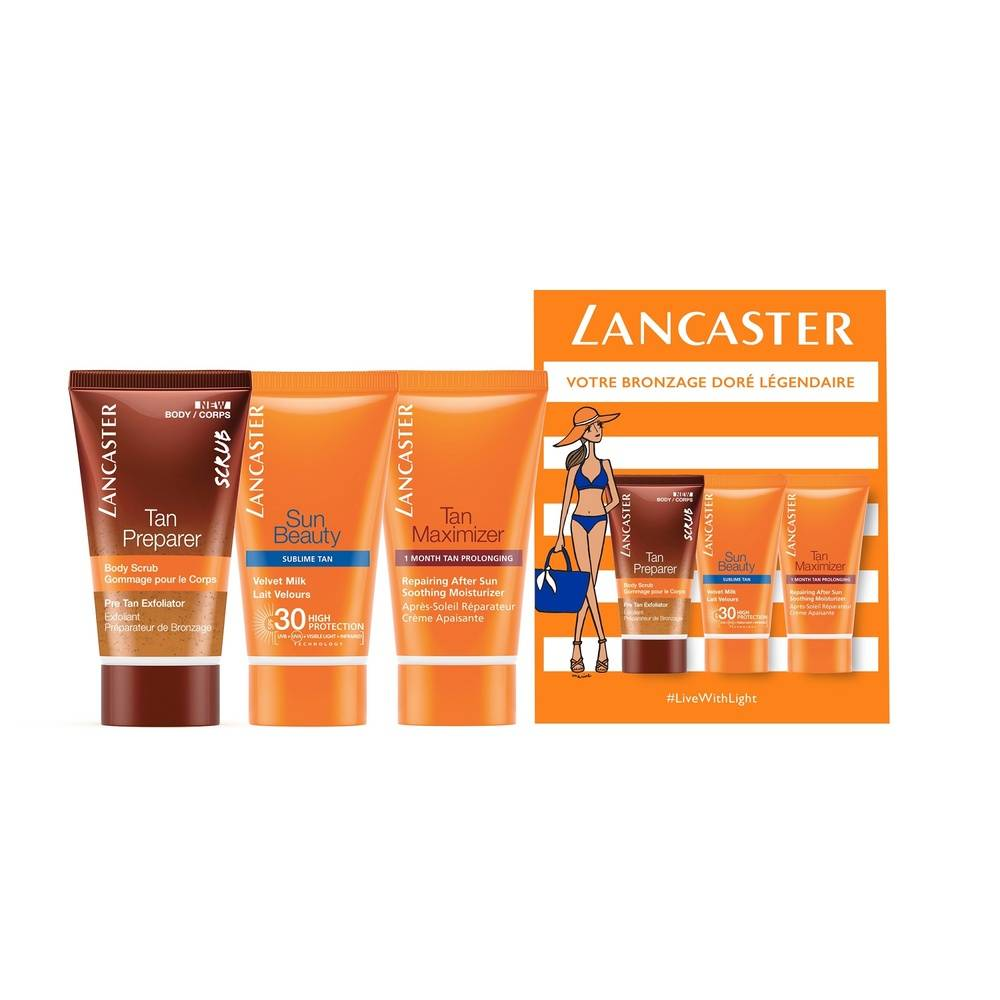 Lancaster Tan Preparer Exfoliant + Sun Beauty Lait Velours SPF30 + Tan Maximizer Coffret routine 3 étapes