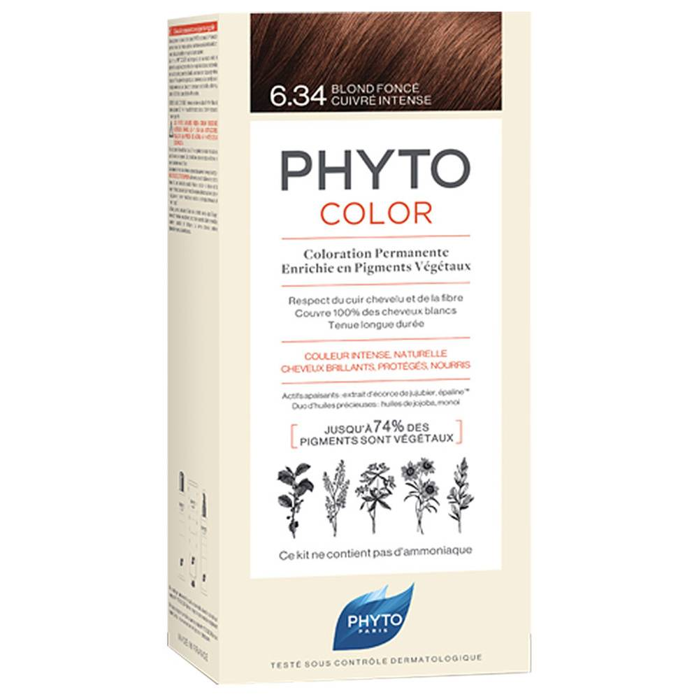 Phytocolor 6.34 Blond foncé cuivré intense COLORATION PERMANENTE