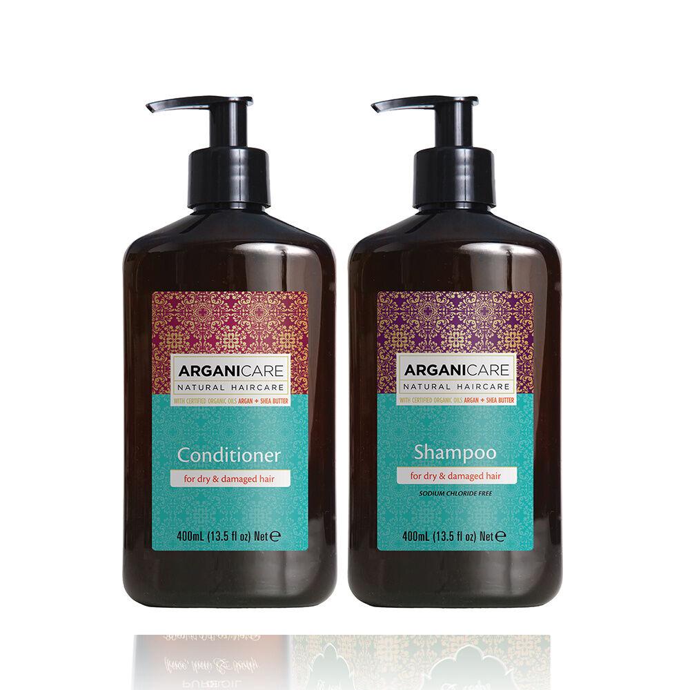 Arganicare Duo Nourrissant à l'huile d'Argan et beurre de karité cheveux secs et abimés Shampooing  et après shampooing