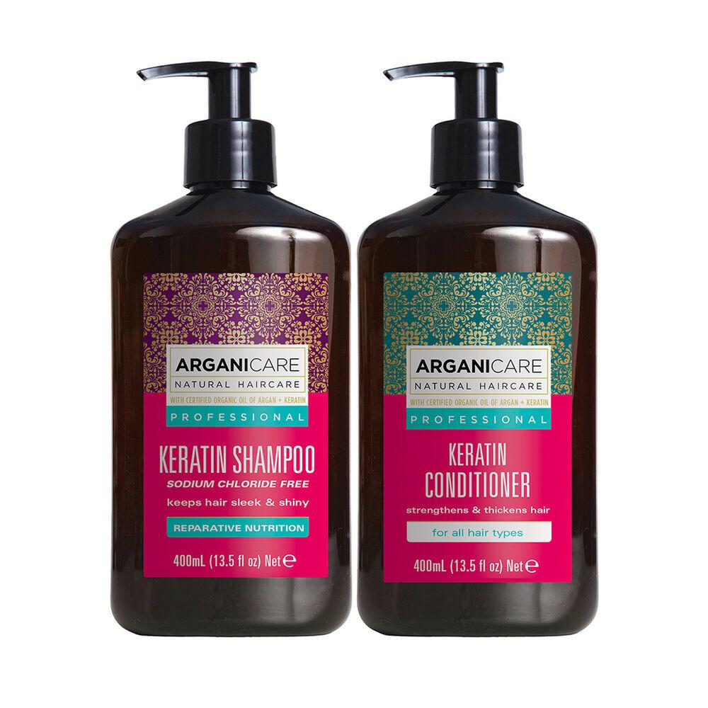 Arganicare Duo réparateur et fortifiant à la kératine tous types de cheveux Shampooing  et après shampooing