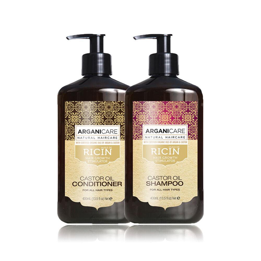 Arganicare Duo Accélérateur de croissance à l'huile de Ricin tous types de cheveux Shampooing  et après shampooing