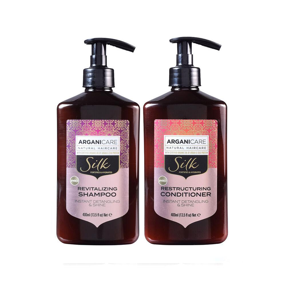 Arganicare Duo Brillance Ultime à la proteine de soie tous types de cheveux Shampooing  et après shampooing