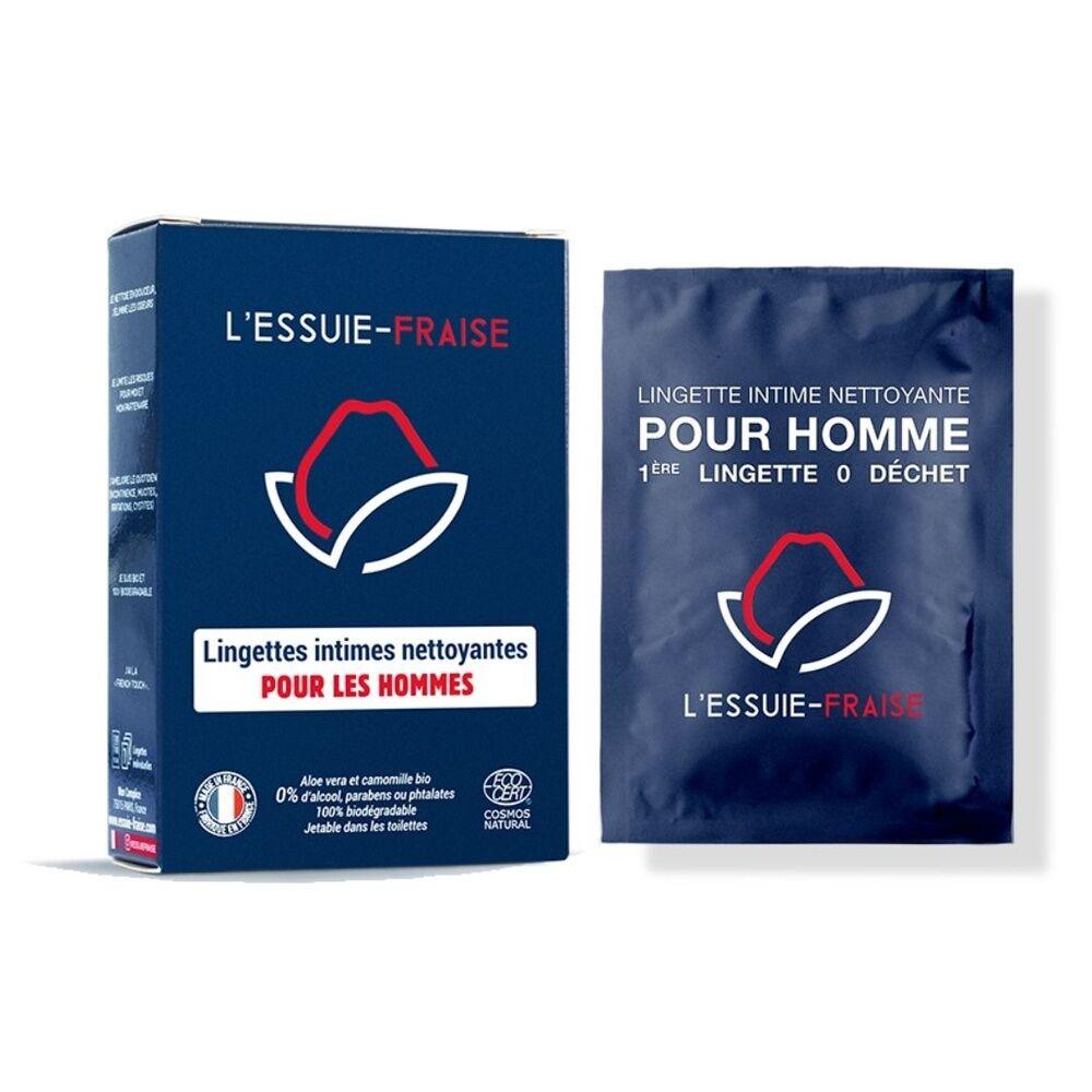 L'Essuie-Fraise Boîte de 7 lingettes intimes individuelles pour homme 0 déchet certifiées bio Lingettes intimes pour homme