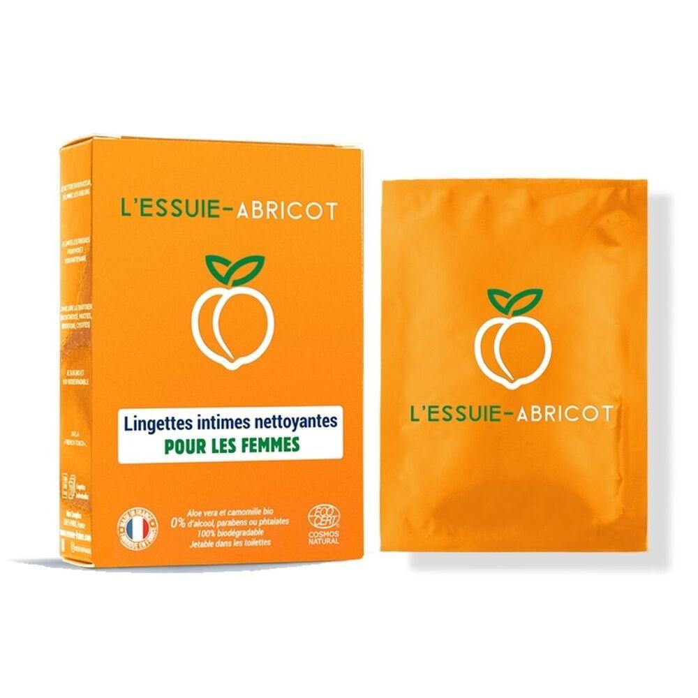 L'Essuie-Fraise Boîte de 7 lingettes intimes individuelles pour femme 0 déchet certifiées bio Lingettes intimes pour femme - L'Essuie-Abricot