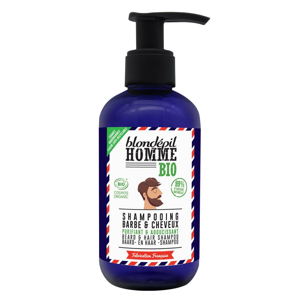 blondepil HOMME SHAMPOOING Barbe et Cheveux - Certifié BIO COSMOS Soin barbe & cheveux
