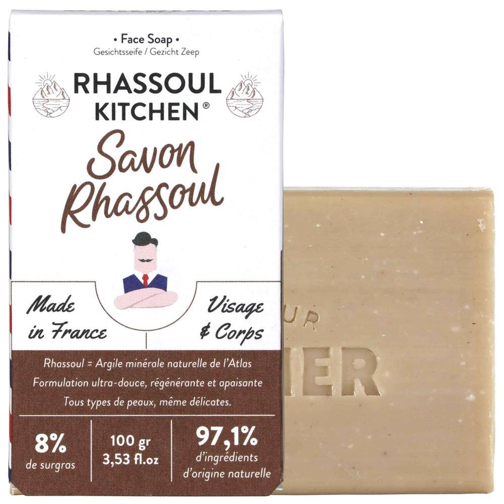 Monsieur Barbier Rhassoul Kitchen Savon équilibrant naturel pour Homme Savon Surgras Visage et Corps à l'Argile Rhassoul