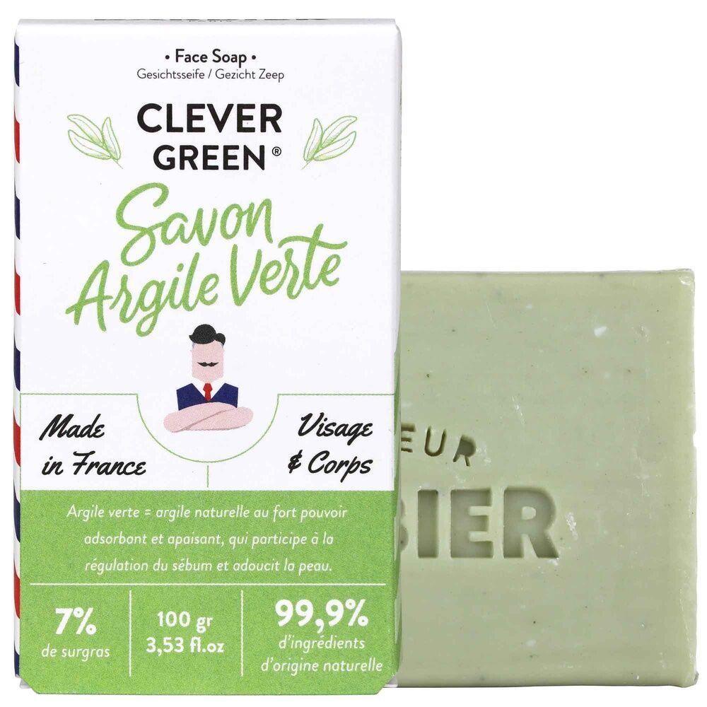 Monsieur Barbier Clever Green Savon hydratant naturel pour Homme Savon Surgras Visage et Corps à l'Argile Verte