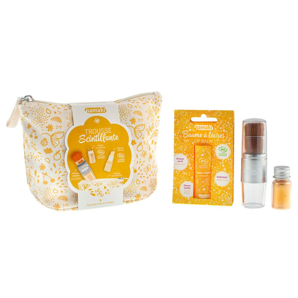 namaki Maquillage de fête Trousse coton bio, Baume à lèvre Vanille, Pinceau magique doré