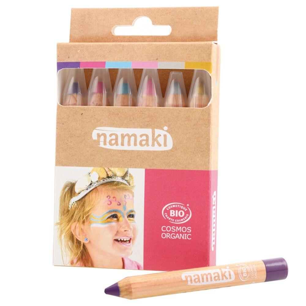 namaki Maquillage de déguisement Crayons or/argent/rose/turquoise/violet/fuchsia