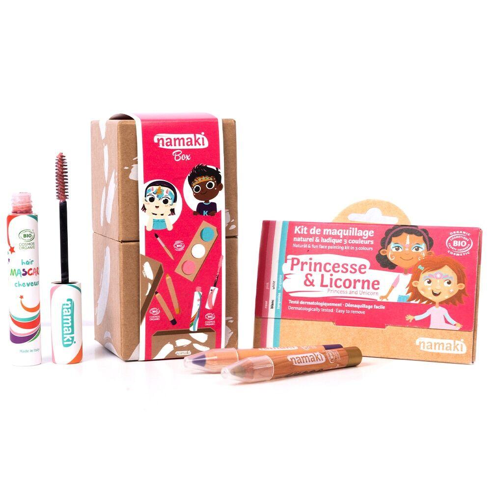 namaki Maquillage de déguisement Kit 3 Princesse&Licorne*- Mascara cheveux rose (21) - 1 Crayon de maquillageViolet - 1 Crayon de maquillage Or