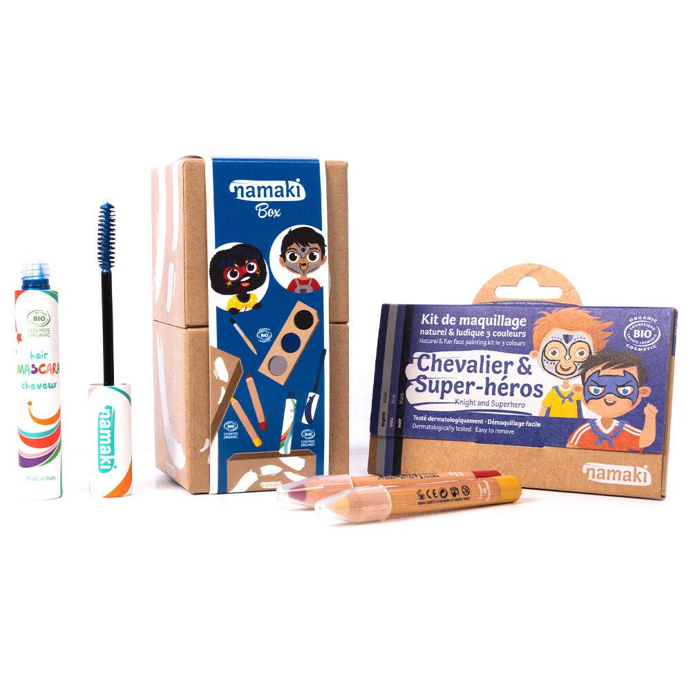 namaki Maquillage de déguisement Kit 3 Chevalier&Super-héros*- Mascaracheveux bleu (18) - 1 Crayon de  maquillage Rouge - 1 Crayon de maquillage Jaune