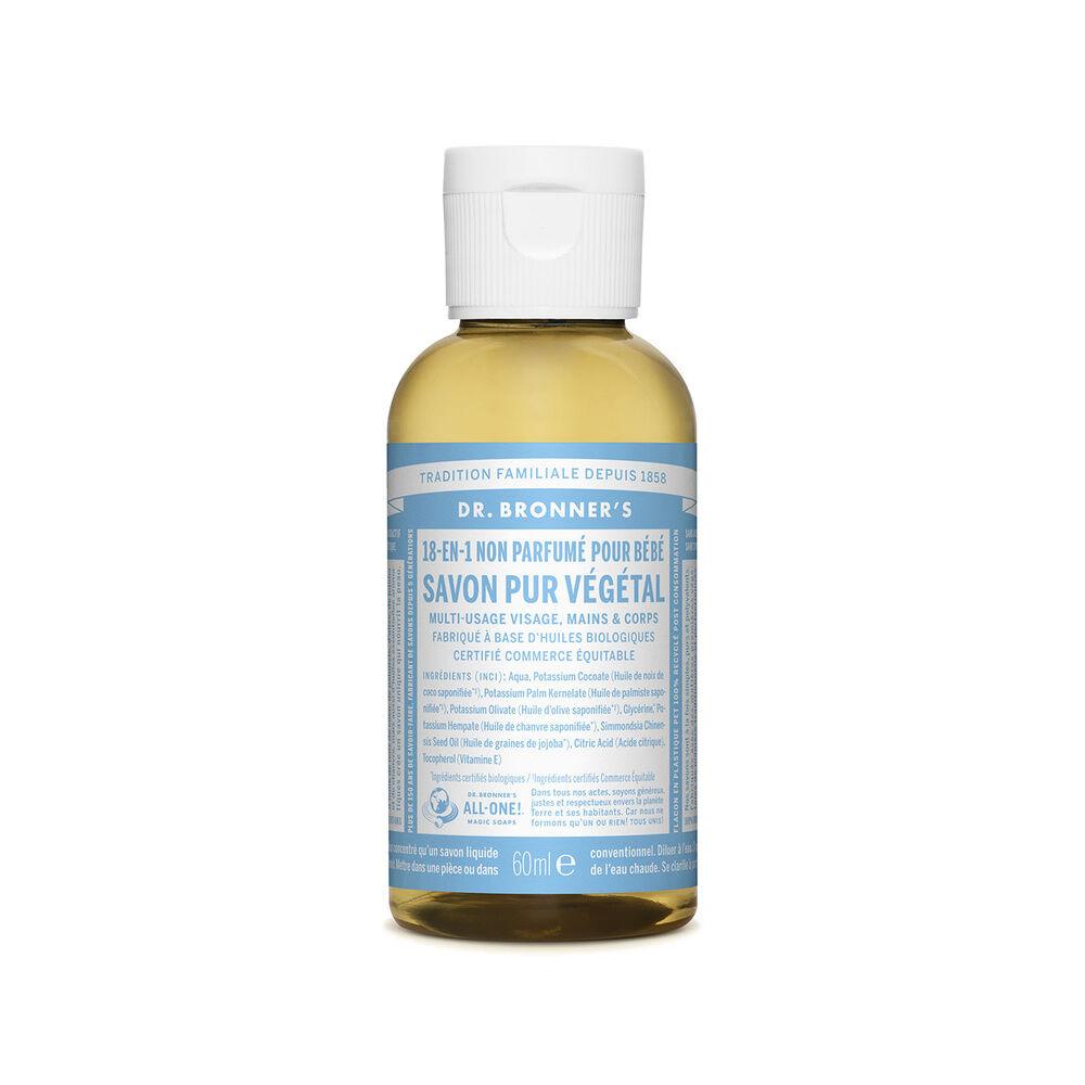 Dr Bronner's - Savon liquide non parfumé - 60ml Savon liquide
